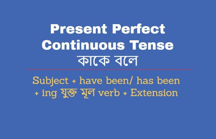 Present Perfect Continuous Tense কাকে বলে Present Perfect Continuous Tense এর উদহারণ